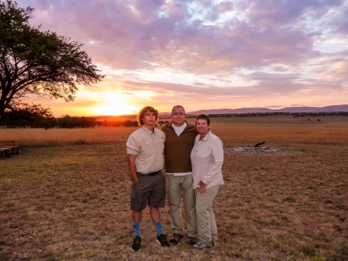 Our guests after the sundowner in northern Serengeti